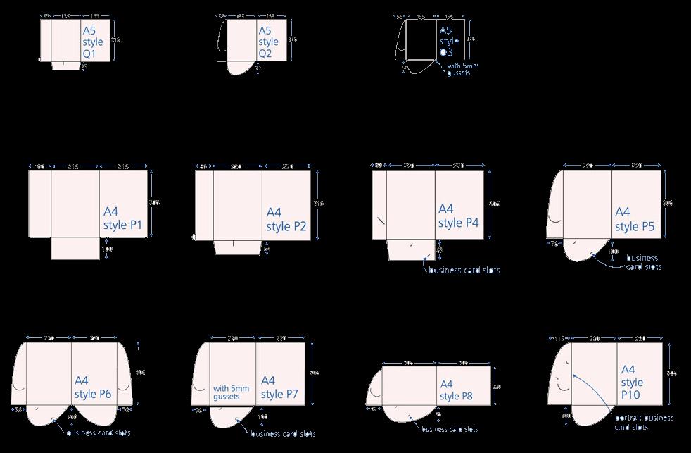 gabarits standards de chemises à rabats